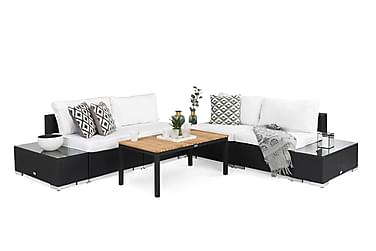 BAHAMAS Loungegruppe Medium + 2 Sidebord Svart
