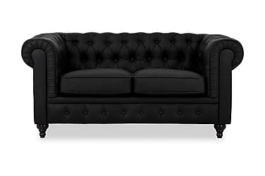 CHESTERFIELD 2-seters Sofa Kunstlær Svart